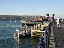The paddle steamer Waverley along side